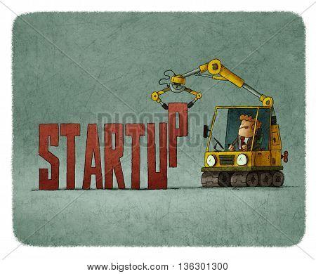 illustration of Man in bulldozer creating word startup