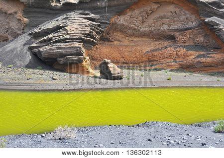 Green water at El Gordo on spanish volcanic island Lanzarote