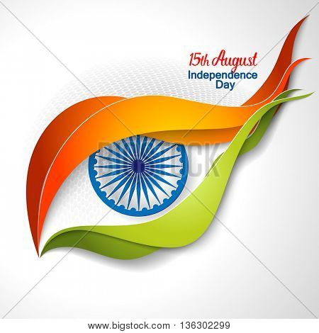 Indian Independence Day concept eye background with Ashoka wheel. Vector Illustration