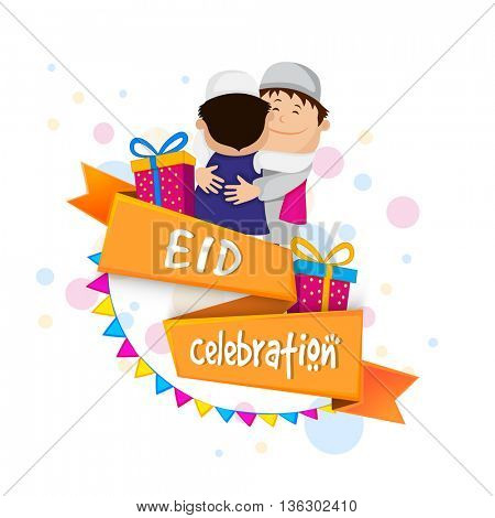 Cute Muslim Kids hugging and wishing to each other on occasion of Eid celebration, Beautiful Greeting Card design with happy islamic boys, for Muslim Community Holy Festival celebration.
