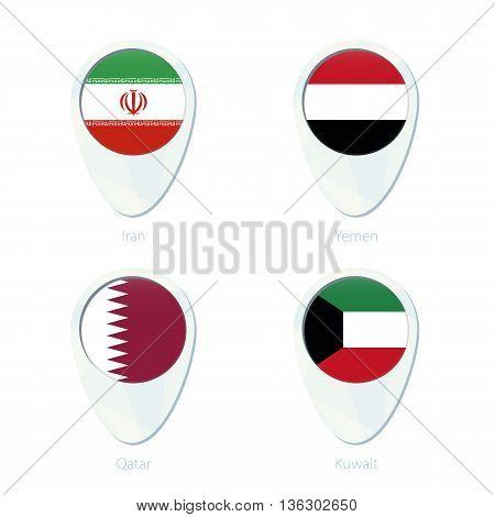 Iran, Yemen, Qatar, Kuwait Flag Location Map Pin Icon.