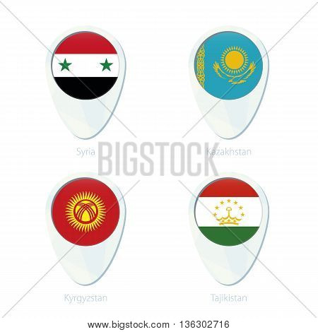 Syria, Kazakhstan, Kyrgyzstan, Tajikistan Flag Location Map Pin Icon.