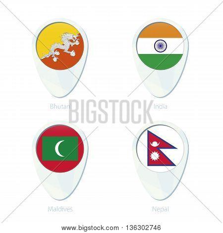 Bhutan, India, Maldives, Nepal Flag Location Map Pin Icon.