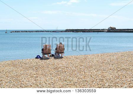 Pebbles on Jurassic Coast in Lyme Regis