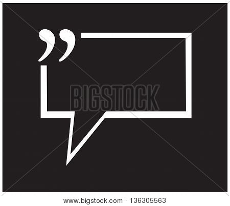 Quotation Mark Speech Bubble black background testimonial