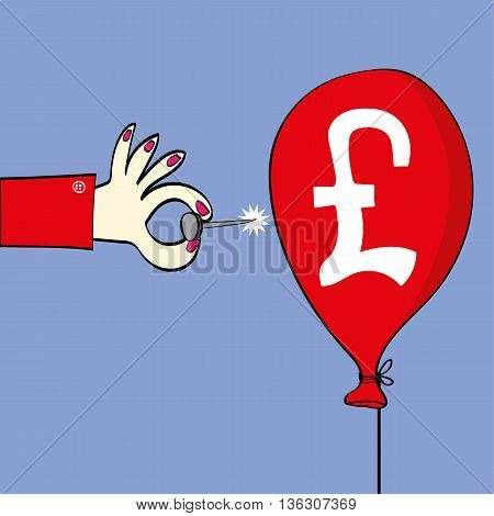 Female hand holding a sharp pin ready to burst a red balloon on which there is a British pound symbol as a metaphor for the exchange rate or stock market