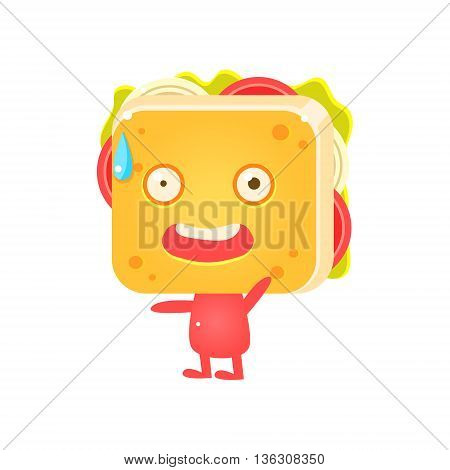 Sandwich Character Lying Flat Childish Funny Design Vector Drawings Isolated On Dark Background