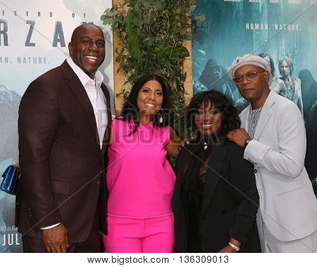 LOS ANGELES - JUN 27:  Magic Johnson, Cookie Johnson, LaTanya Richardson-Jackson, Samuel L. Jackson at The Legend Of Tarzan Premiere at the Dolby Theater on June 27, 2016 in Los Angeles, CA
