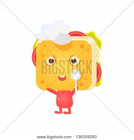 Sandwich Character In Coking Hat With Spoon Flat Childish Funny Design Vector Drawings Isolated On Dark Background