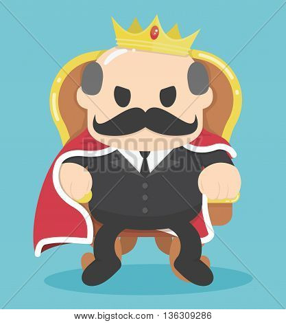 A successful Businessman King sitting Illustration Concept