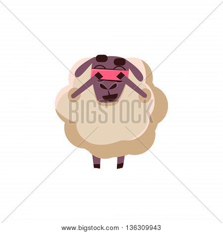 Sheep Playing Hide-and-seek Cute Childish Style Bright Color Design Icon Isolated On White Background