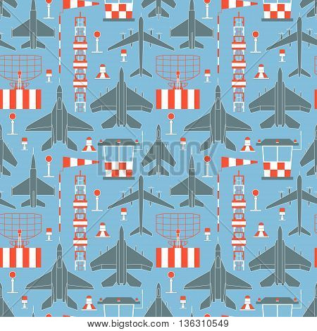 Seamless pattern with military airplanes number five. Can be used for graphic design, textile design or web design.