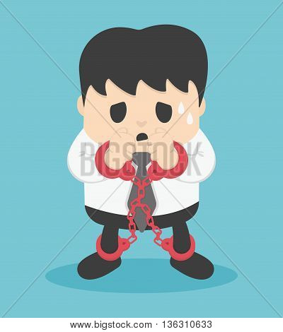 businessman locked with chains Illustration Concept eps