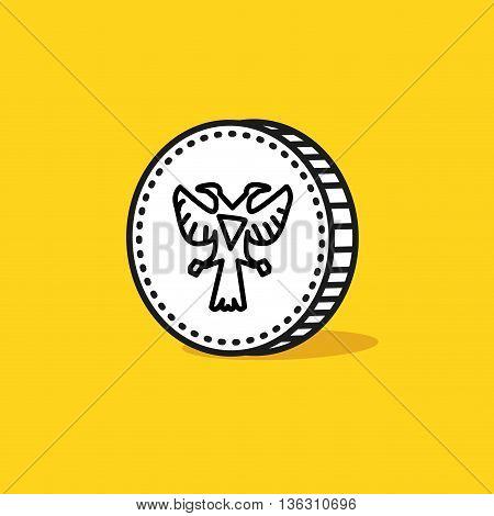 Antique two head eagle on a reverse of coin. Hand drawn style. Vector illustration