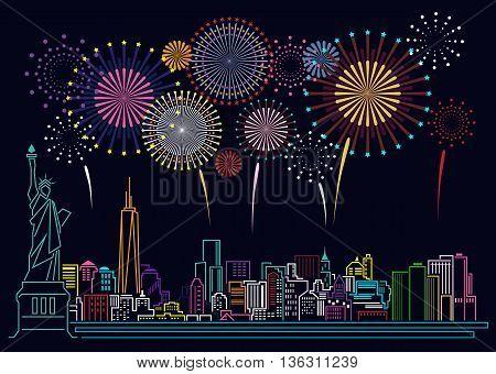 Cityscape Building Line new york city and firework art Vector Illustration design