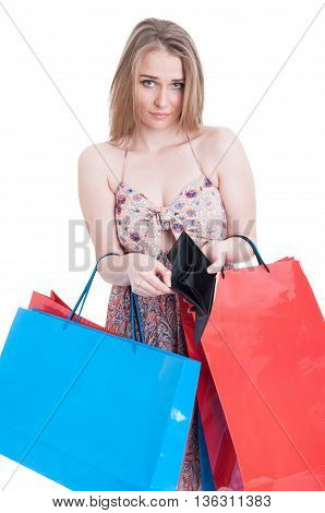 Sad Shopper Girl With Bags And Empty Wallet