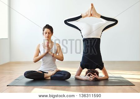Two Young Women Practicing Yoga Poses And Asanas
