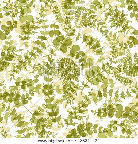 Seamless plant background. Endless pattern with green twigs and leaves silhouette. Vector illustration on white background