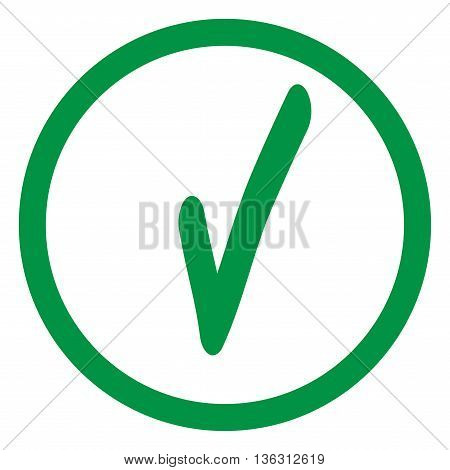 Tick green sign in green circle. Isolated on white background. Symbol correct in green circle. Positive marks. Agree choice sticker . Flat vector image. Vector illustration