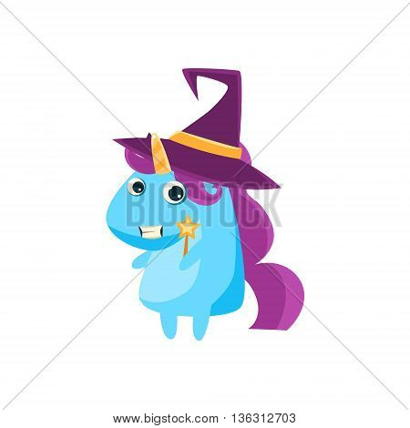 Unicorn In Witch Costume Flat Bright Color Childish Cartoon Design Vector Illustration Isolated On White Background