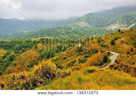 Beautiful autumn mountain italian landscape in Ligure