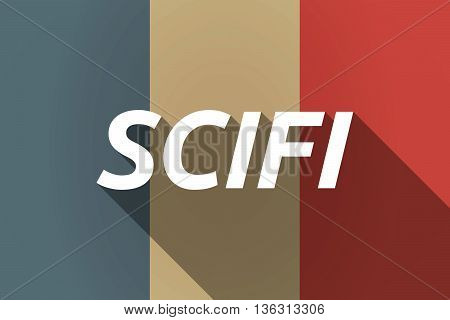 Vector Long Shadow France Flag With    The Text Scifi