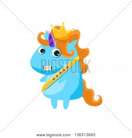 Unicorn In Prince Charming Costume Flat Bright Color Childish Cartoon Design Vector Illustration Isolated On White Background