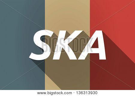 Vector Long Shadow France Flag With    The Text Ska