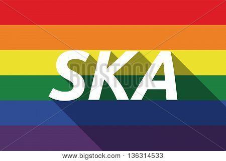 Vector Long Shadow Gay Pride Flag With    The Text Ska