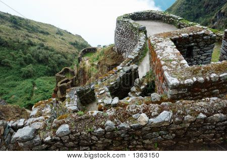 Ruins Along Inca Trail In The Andes Mountains
