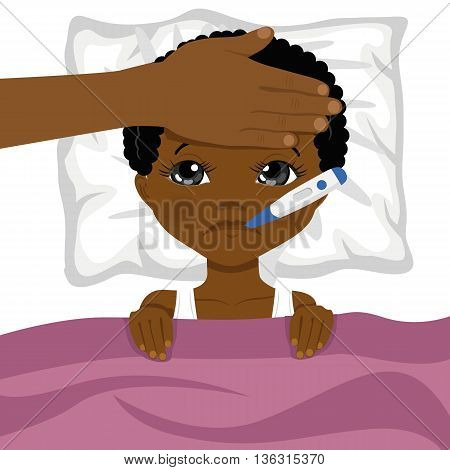 little african american boy ill in bed with a thermometer in his mouth and mother s head on his forehead