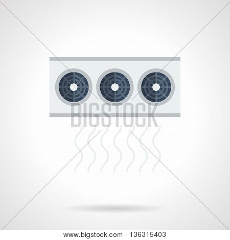 Equipment for air conditioning and ventilation system. Unit with three ventilators. Appliances for storages, industrial buildings. Flat color style vector icon.