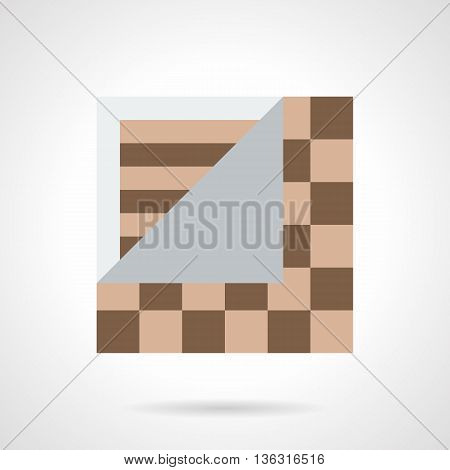 Service of linoleum flooring. Quality floor covering for home or office. Sheet with brown tile imitation pattern. Flat color style vector icon.