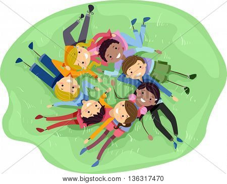 Stickman Illustration of a Diverse Group of Teens Lying on the Grass