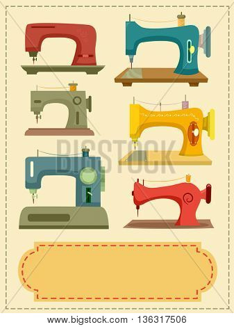 Illustration Featuring Both Vintage and Modern Sewing Machines