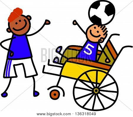 A doodle sketch of a happy little boy in a wheelchair balancing a soccer ball on his head with the help of an able bodied friend.