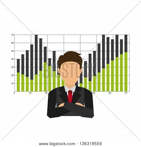 businesman with statistics isolated icon design, vector illustration  graphic