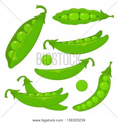 Set of ripe green peas, isolated on white background, illustration.