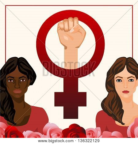 Vector postcard illustration with women and feminist sign