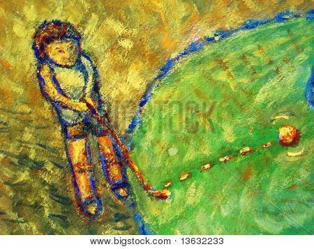 child playing golf