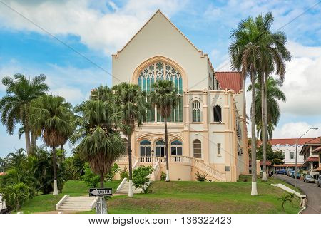 Panama City Panama - May 15 2015: The Balboa Union Church as a congregation was formed in 1914 out of the merger of several Panama Canal construction era Protestant Isthmian Canal Commission churches. The first stone of the church was laid 25 September 19