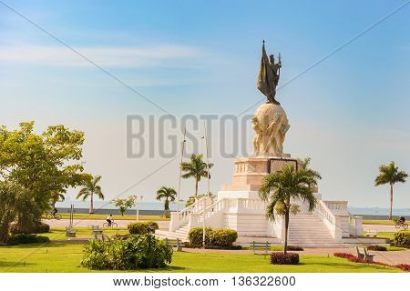 Panama City Panama - May 15 2016: Monument to Vasco Nunez de Balboa located on Balboa avenue in Panama City.