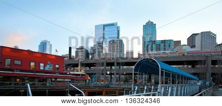 Seattle Waterfront Near Aquarium With Marina And Boats.