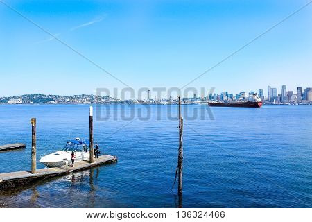 Seattle, Wa - March 23, 2011: Seattle Waterfront Near Aquarium With Marina And Boats.