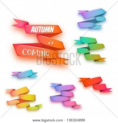 Vector set of curved ribbon paper banners.