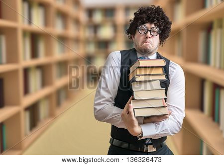 Nerd Student Is Borrowing Many Books In Library.