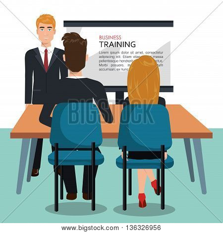 businesspeople in training process  isolated icon design, vector illustration  graphic