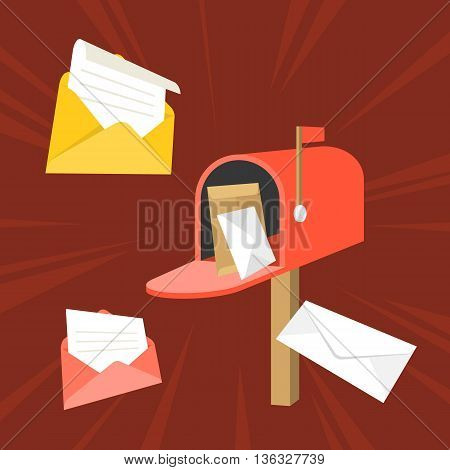 open mail box with envelope and message, in box icon, open mail and read mail concept, 3d flat design vector