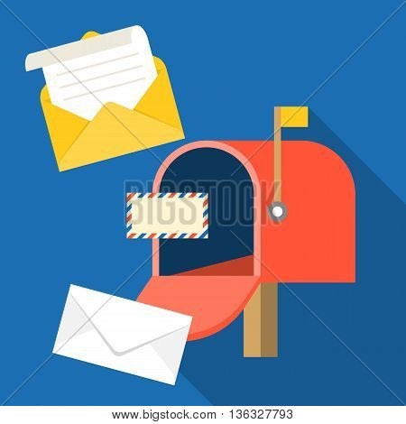 open mail box with envelope and message, in box icon, open mail and read mail concept, flat design vector
