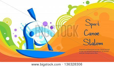 Canoe Slalom Athlete Sport Game Competition Flat Vector Illustration